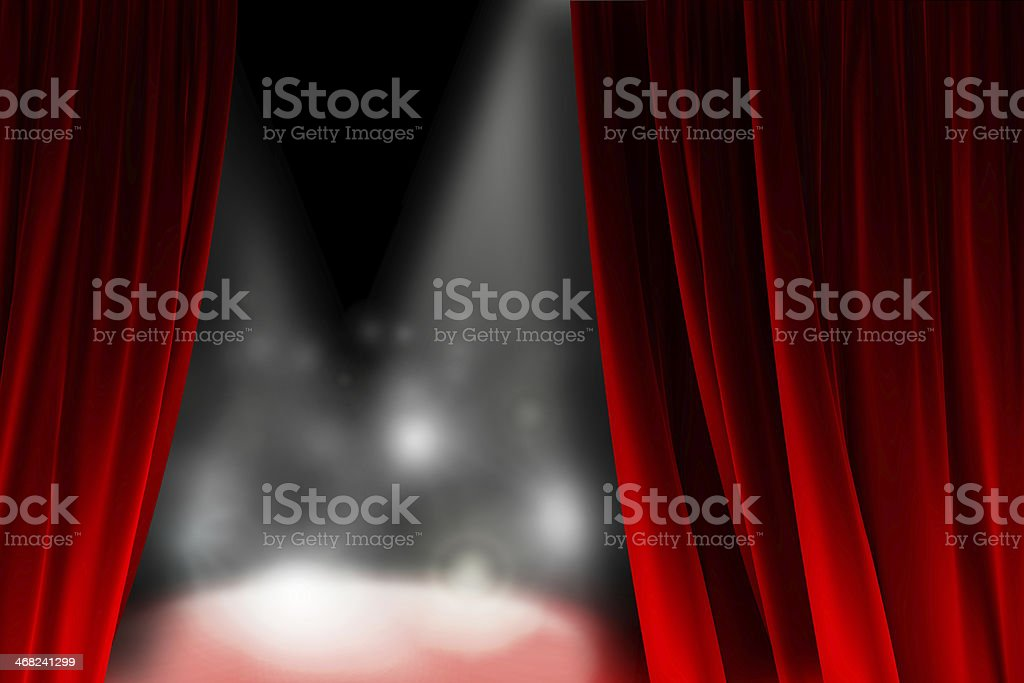 Behind the curtain watching a shining stage stock photo