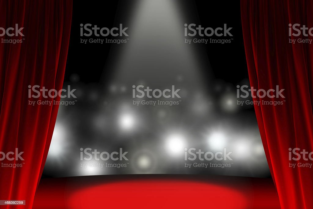 Behind the curtain while public is waiting stock photo