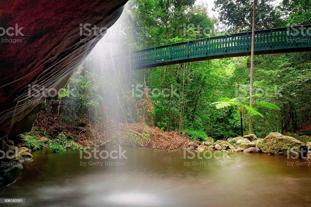 Behind the Falls. stock photo