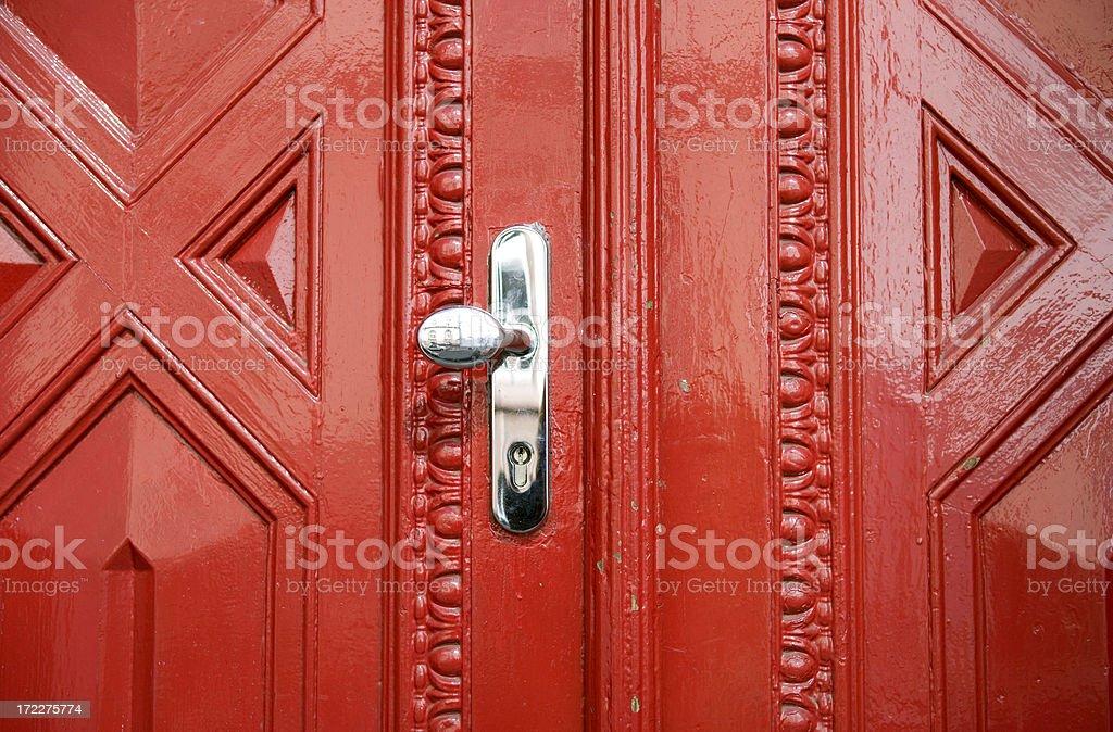 Behind the Red Door stock photo