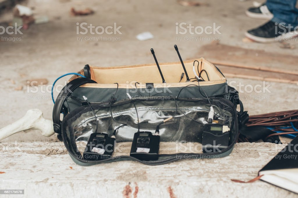 Behind the scene. Equipment for voice and sound recording stock photo