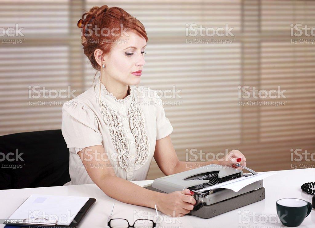 Behind the typewriter royalty-free stock photo