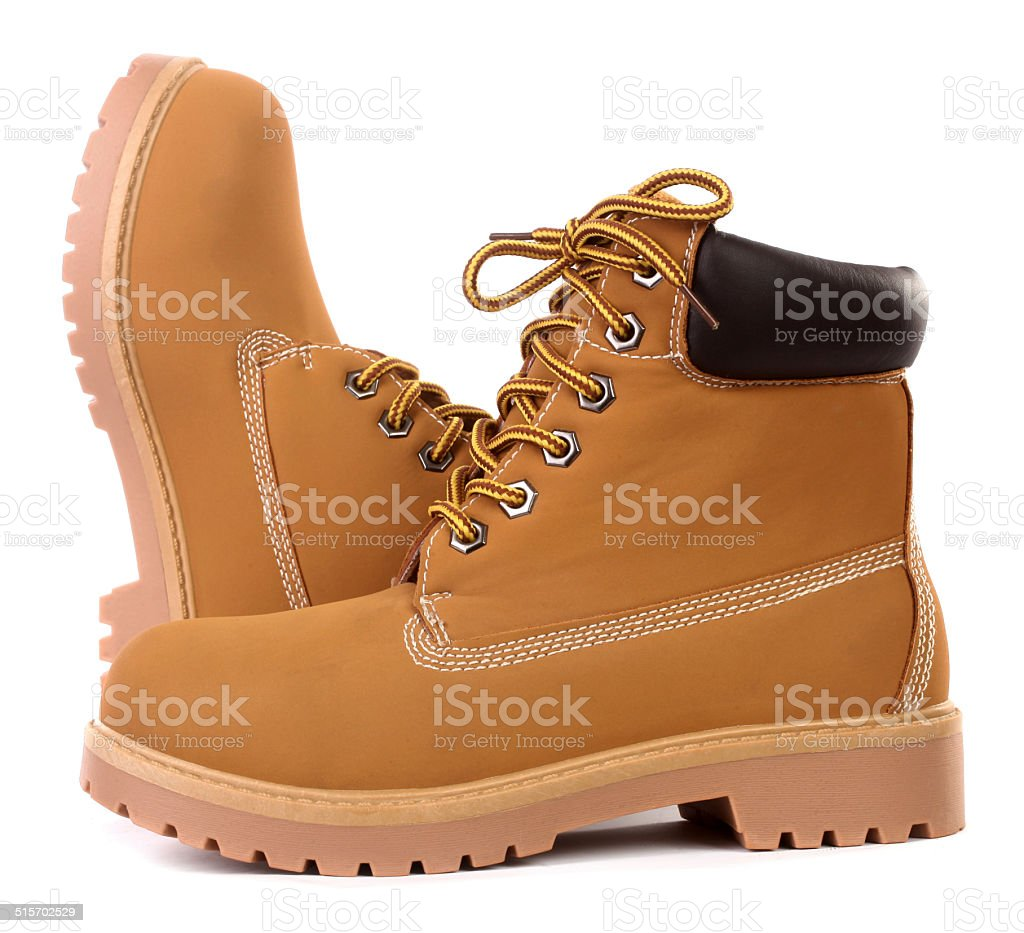 Beige brown working boots stock photo