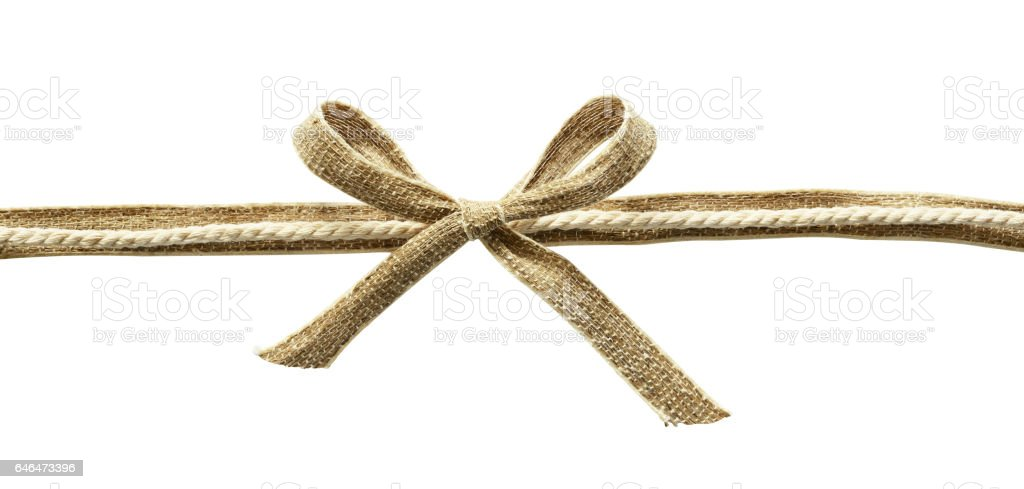Beige canvas ribbon with rope and bow stock photo