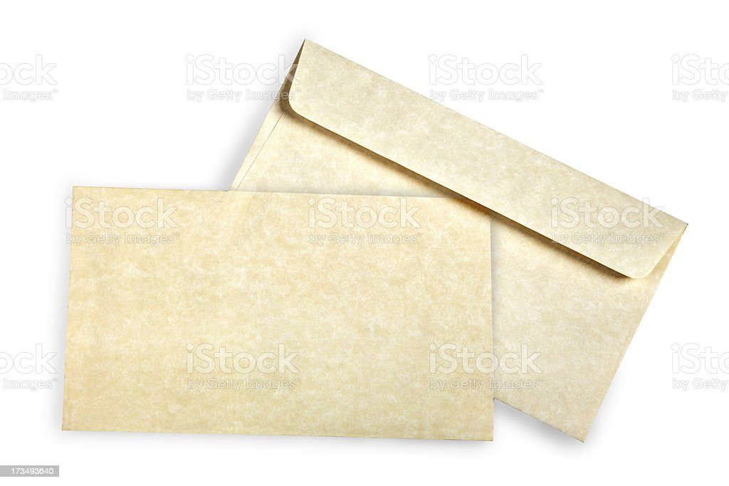 Beige card and envelope. royalty-free stock photo