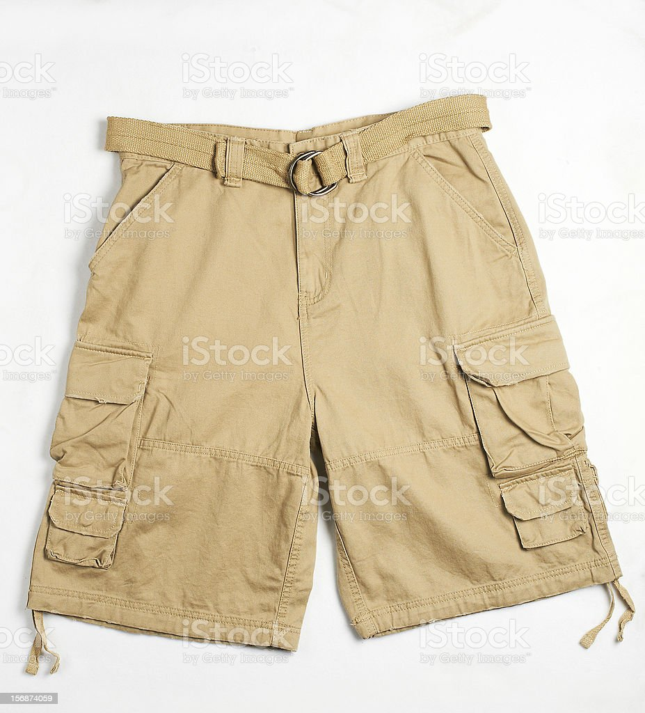 beige cargo shorts with belt stock photo