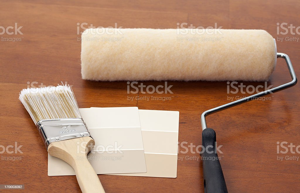 Beige Color Swatch with Paint Equipment stock photo