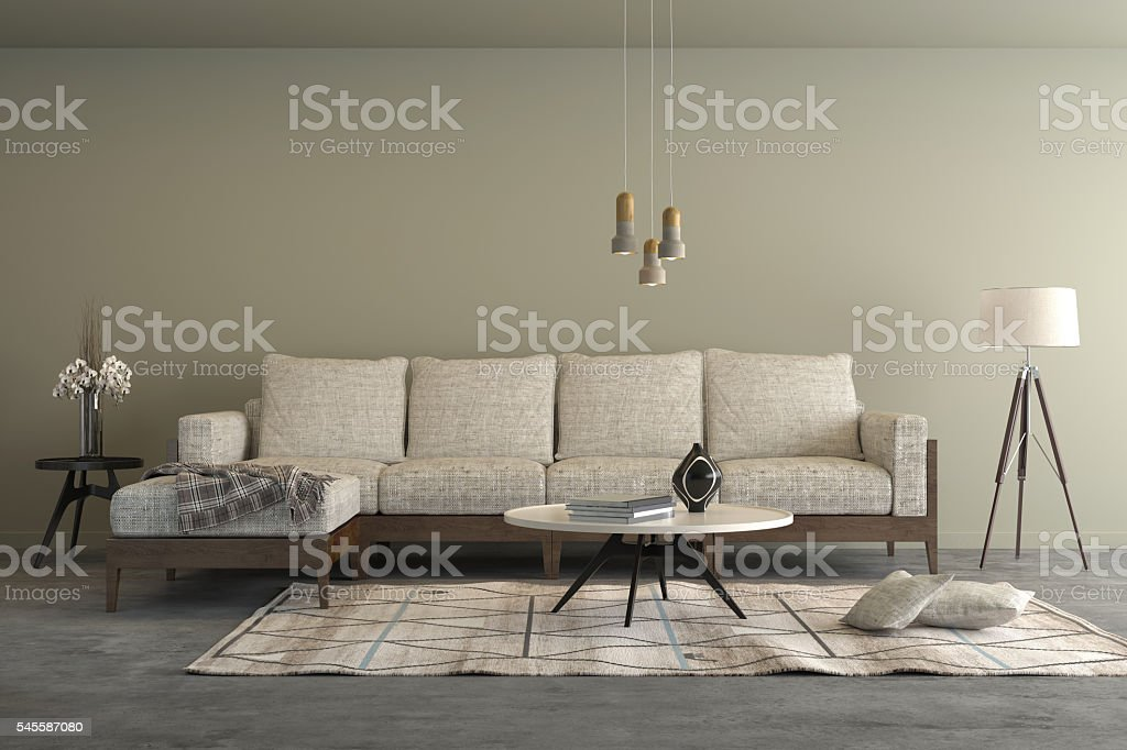 Beige contemporary modern sofa in the living room stock photo
