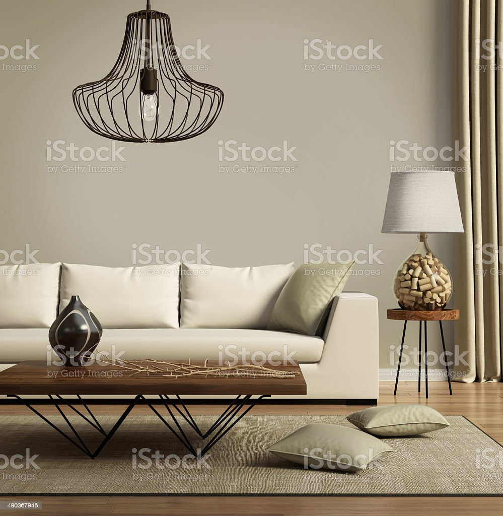 Beige contemporary modern sofa with green cushions stock photo