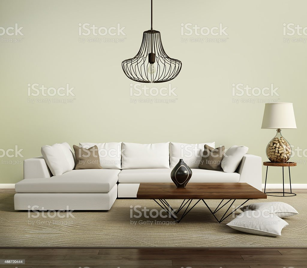 Beige contemporary modern sofa with lamp stock photo