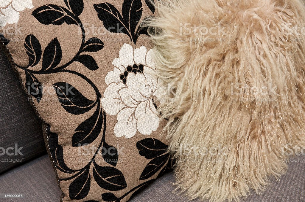 Beige cushions royalty-free stock photo