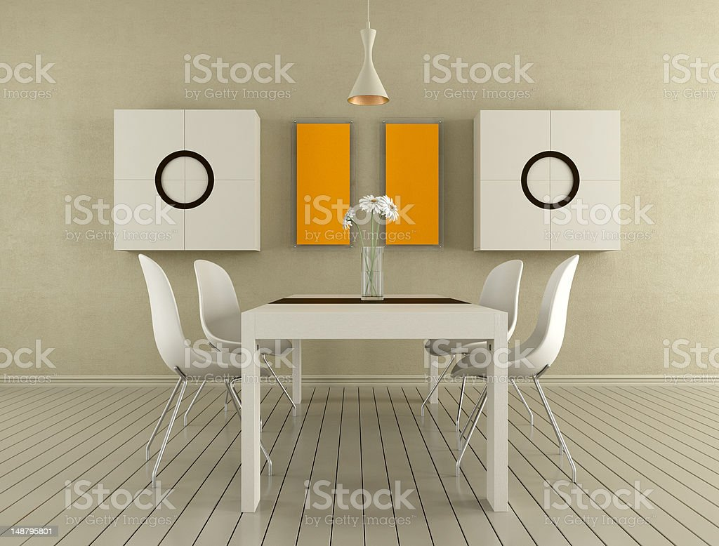 Beige dining room royalty-free stock photo