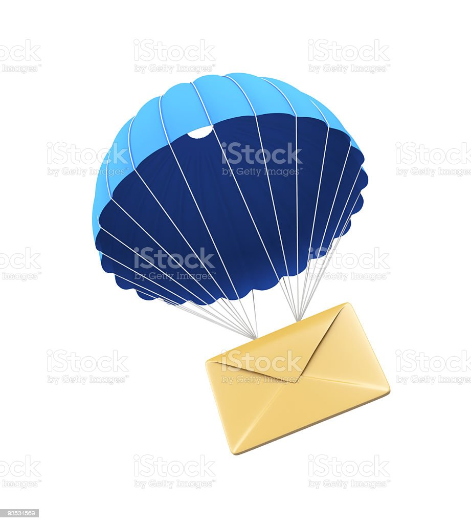 Beige envelope with a blue parachute illustrated on white stock photo