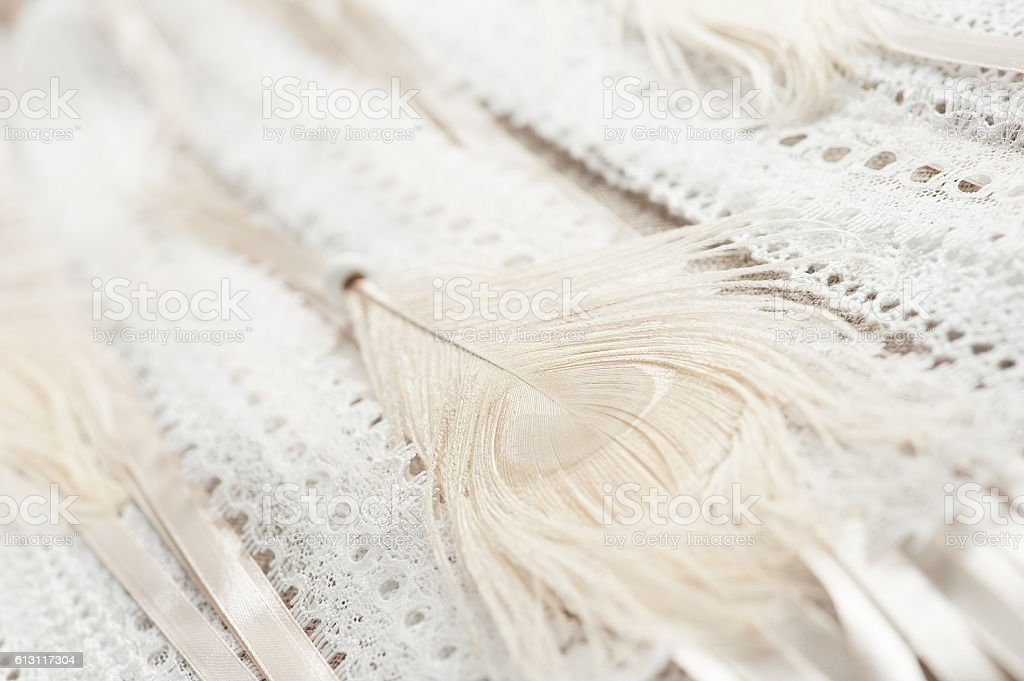 Beige feather and laces stock photo