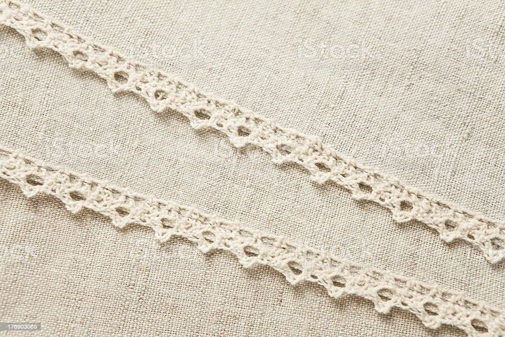 Beige laced linen royalty-free stock photo