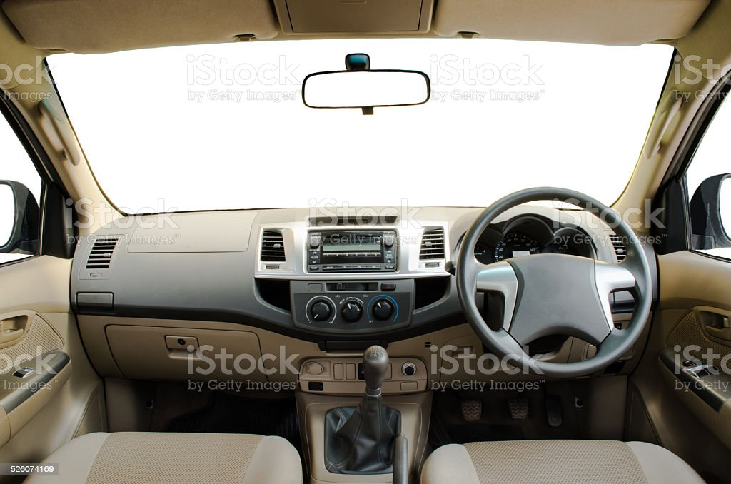 beige leather car dashboard stock photo