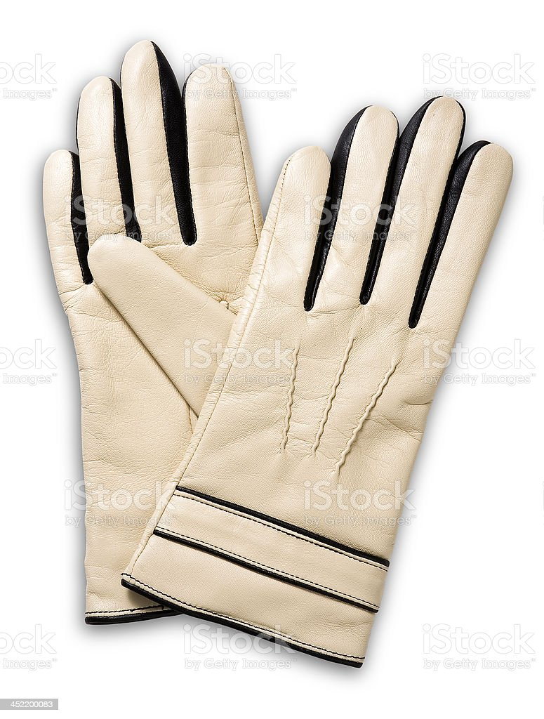 beige leather gloves stock photo