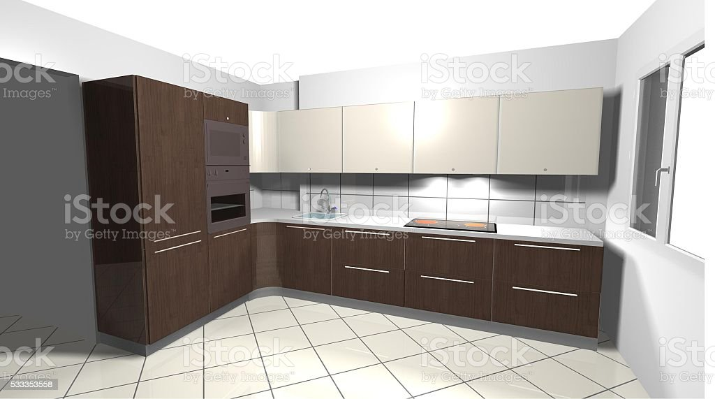 beige modern kitchen brown wooden stock photo