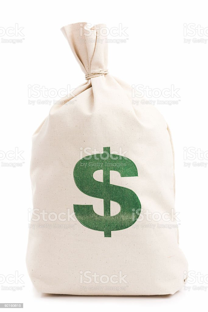 Beige money bag with green dollar sign against white stock photo