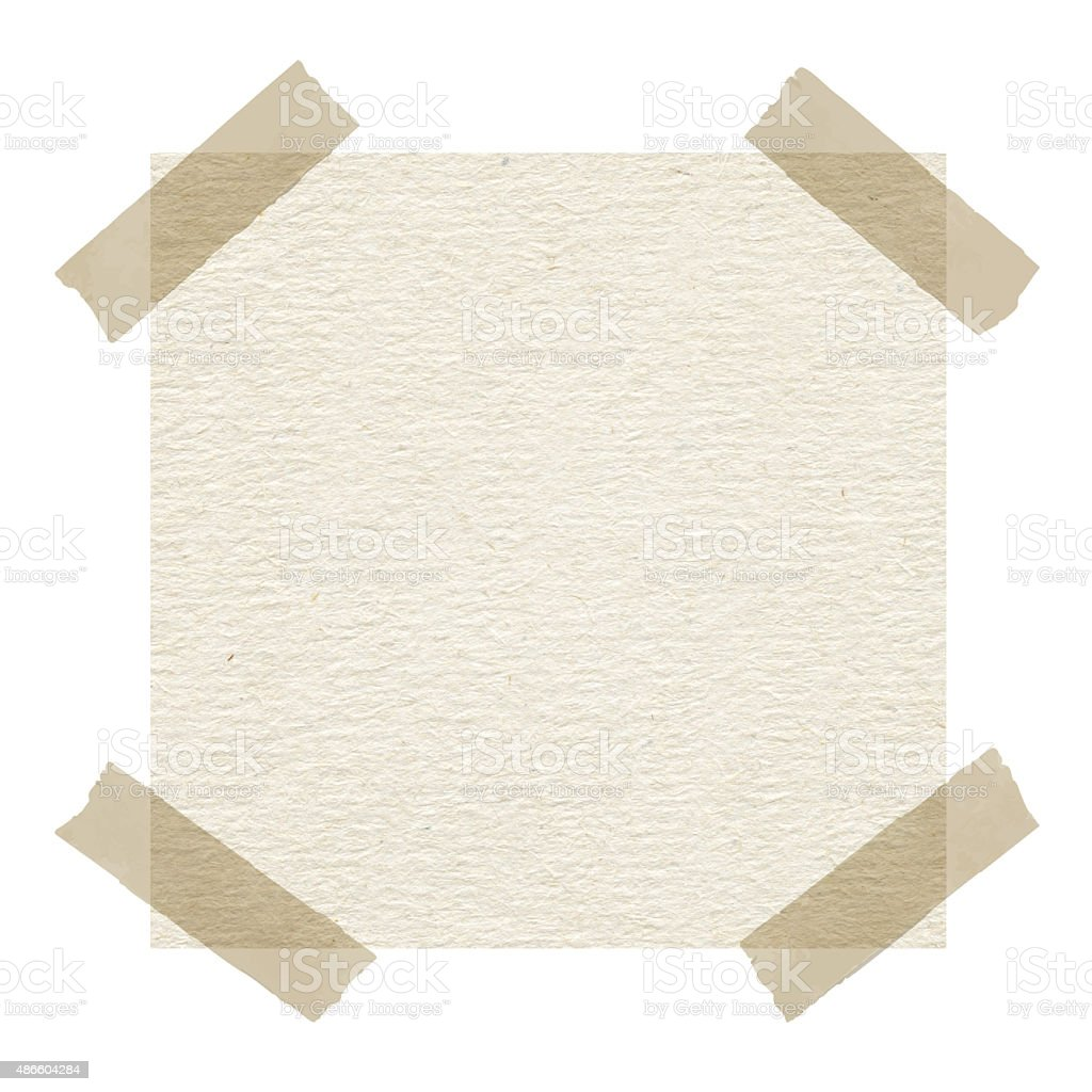 Beige note paper with adhesive tape on white background stock photo