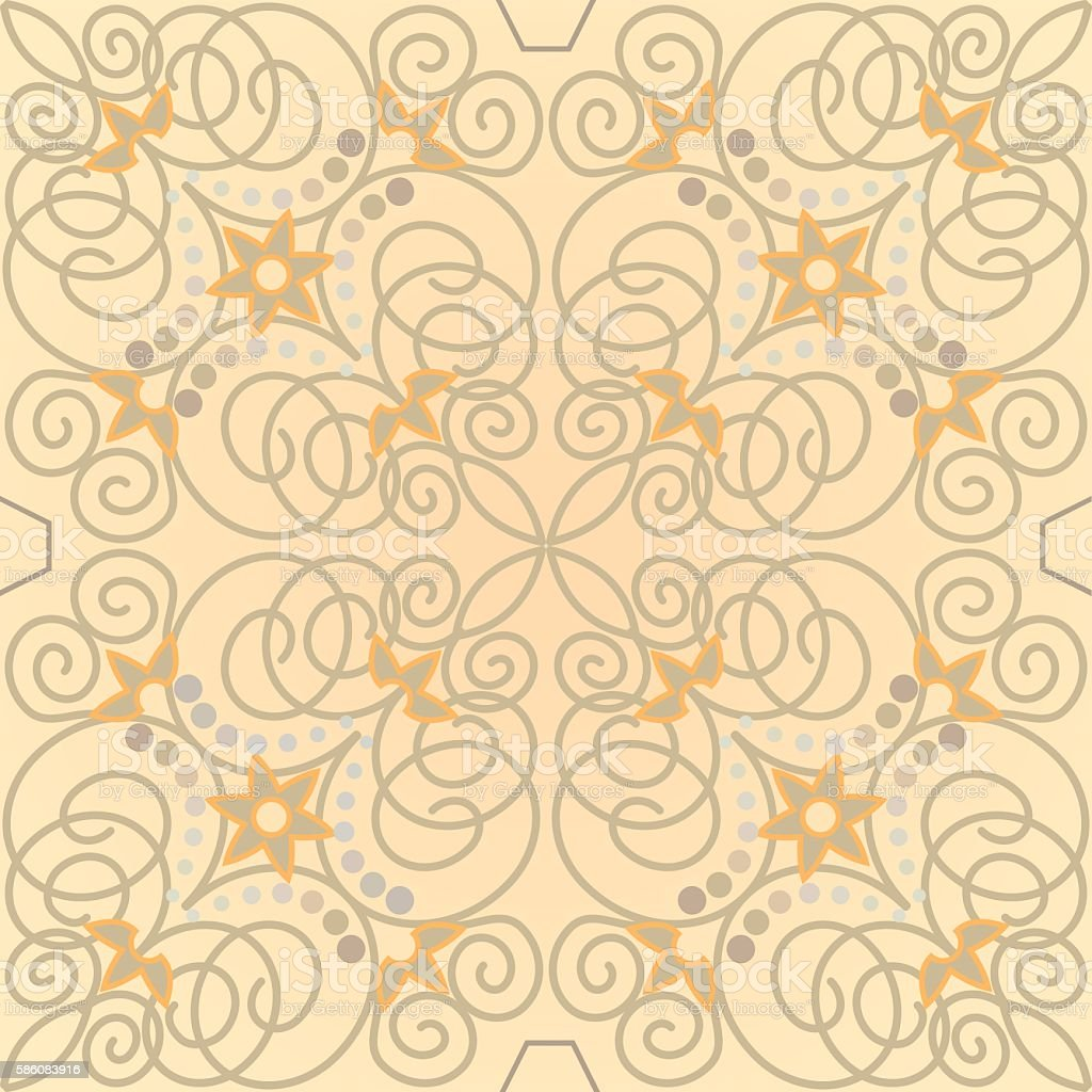 Beige ornamental tile in old style stock photo