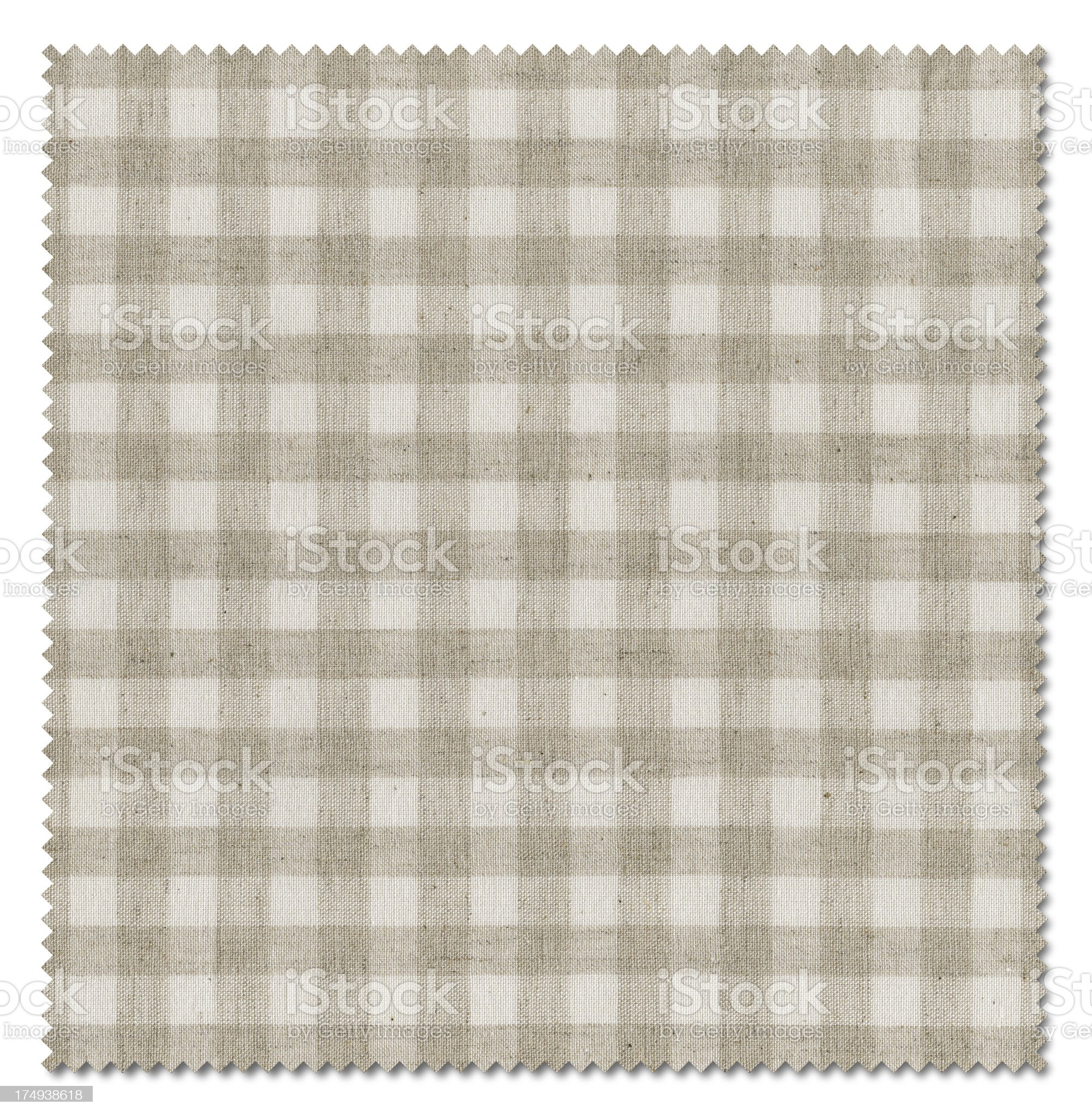 Beige Plaid Pattern Fabric Swatch (Clipping Path) royalty-free stock photo