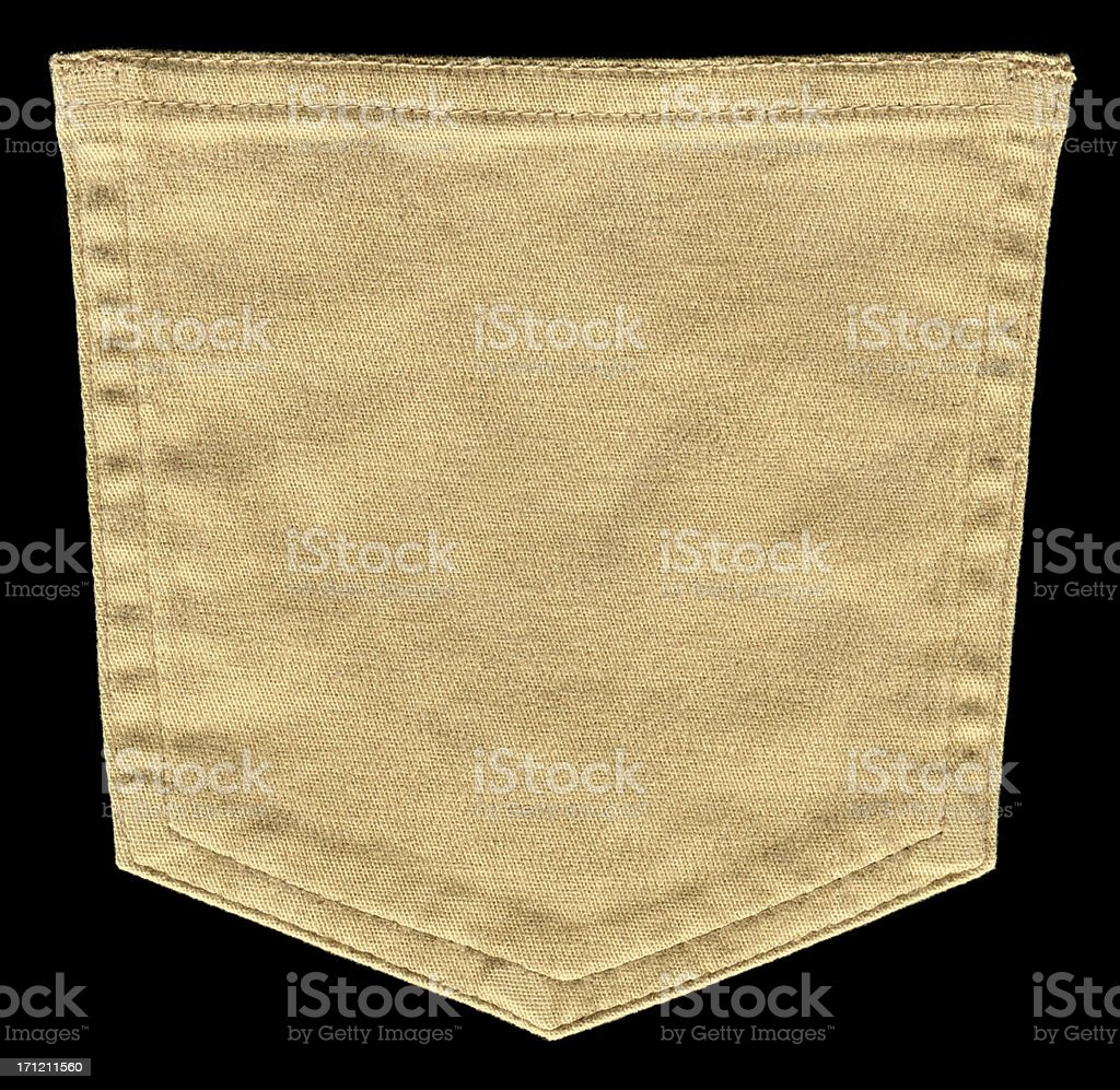 Beige Pocket textile textured background isolated stock photo