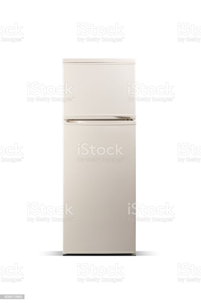 Beige refrigerator isolated on white, fridge freezer stock photo