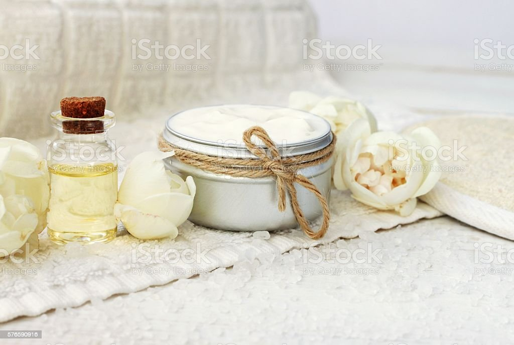 Beige rose spa products stock photo