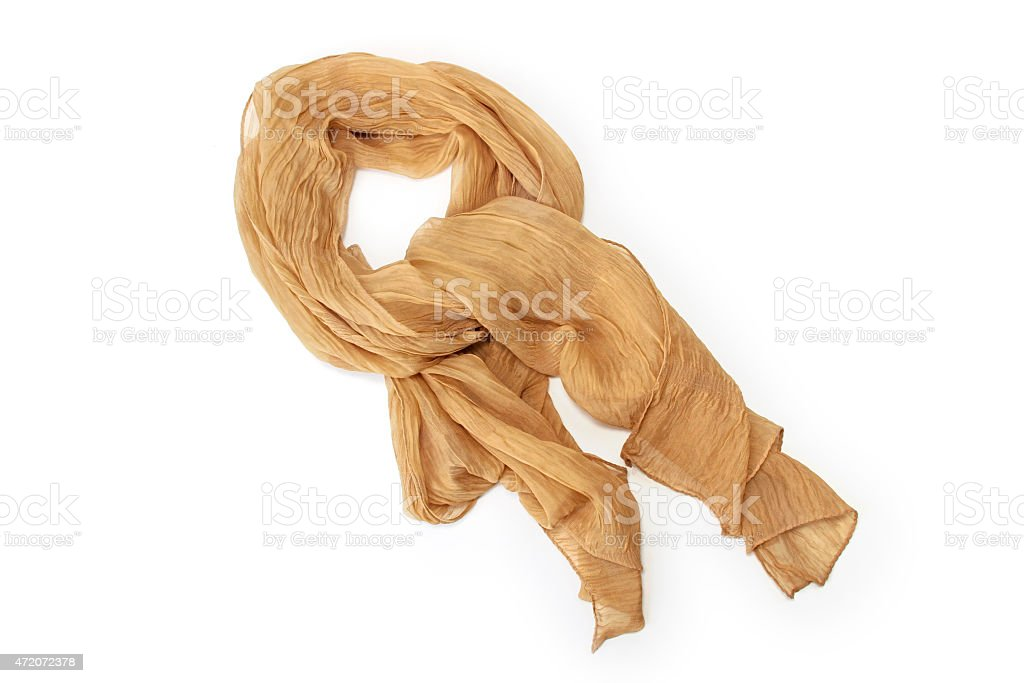 Beige scarf chiffon isolated on white background stock photo