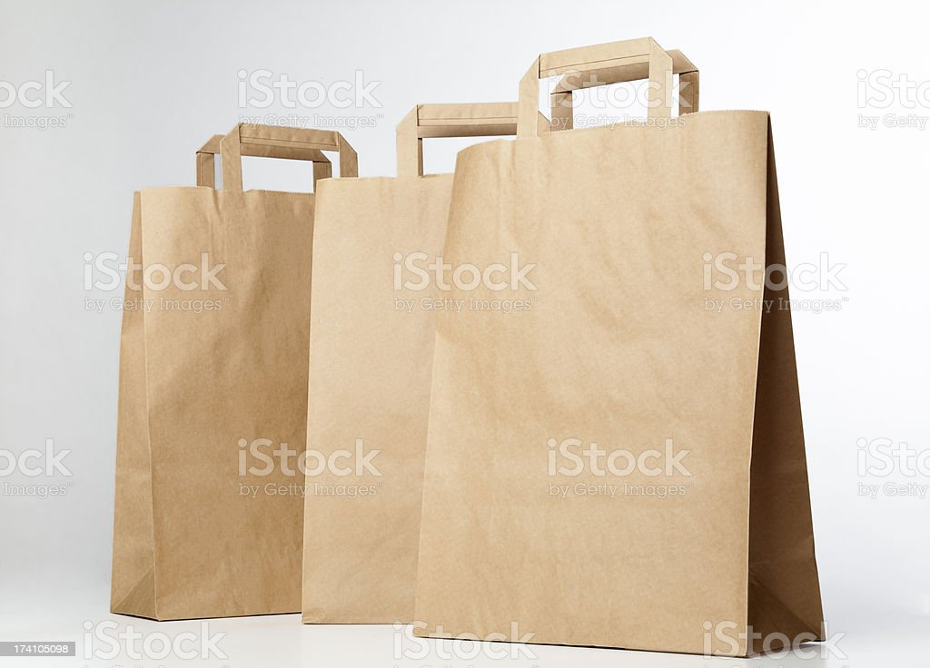 Beige shopping bags. royalty-free stock photo