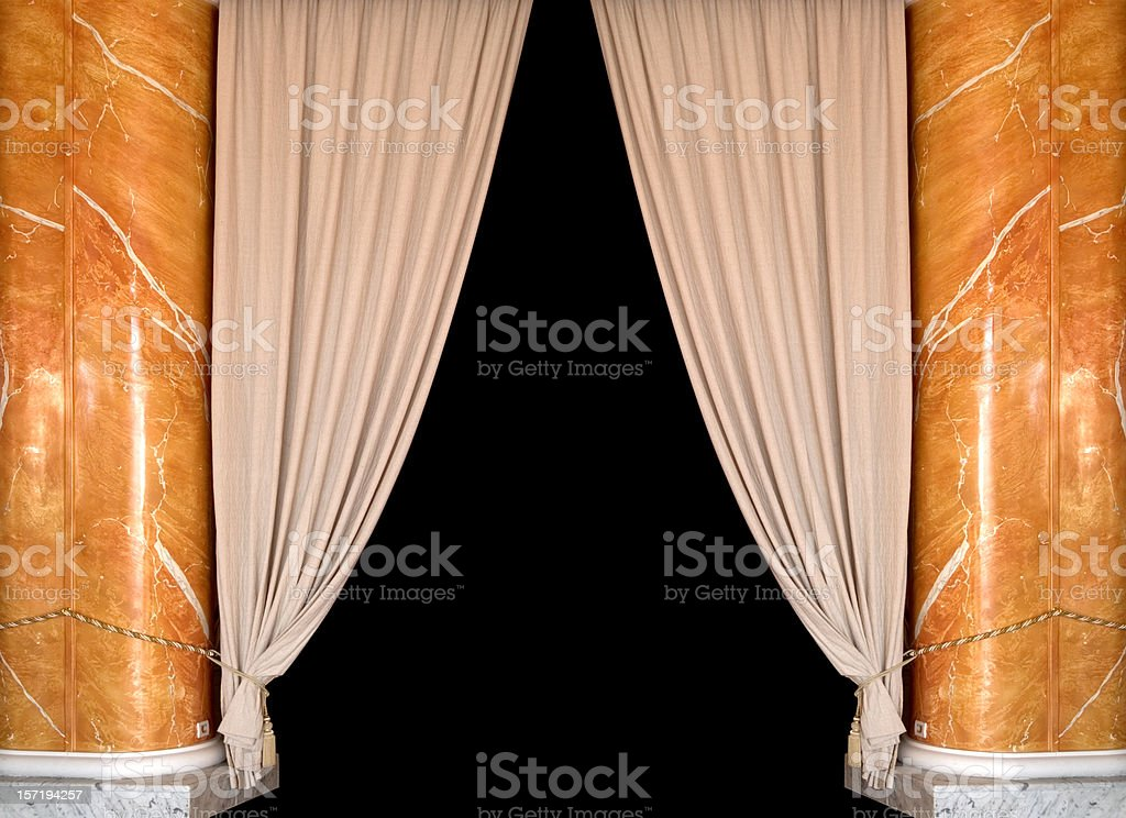 beige theatre curtain royalty-free stock photo