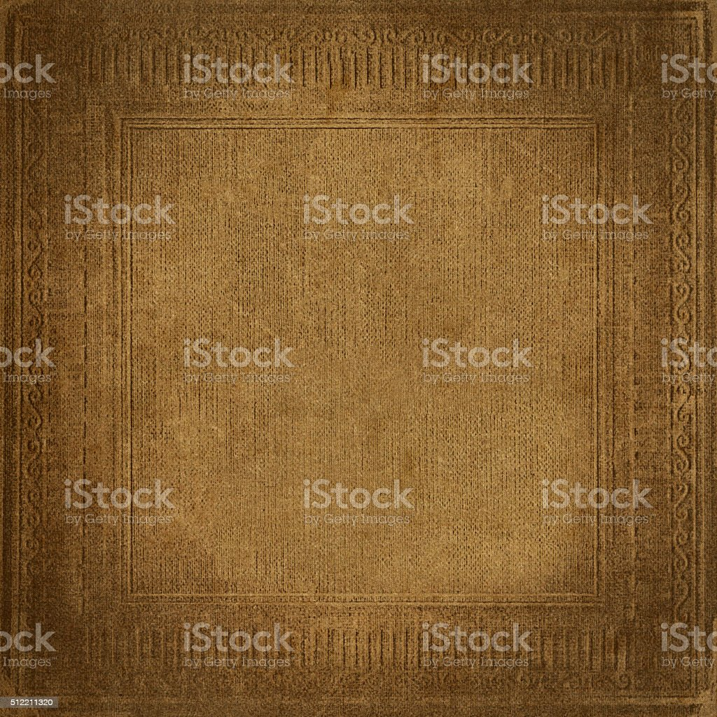 Beige vintage background, grunge fabric texture, antique ornamental frame stock photo