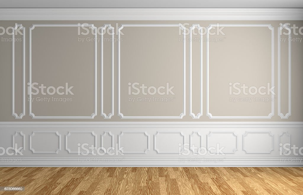 Beige wall in classic style empty room architectural background stock photo