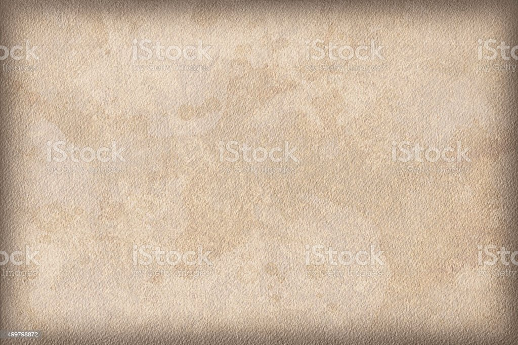 Beige Watercolor Paper Mottled Vignette Grunge Texture stock photo