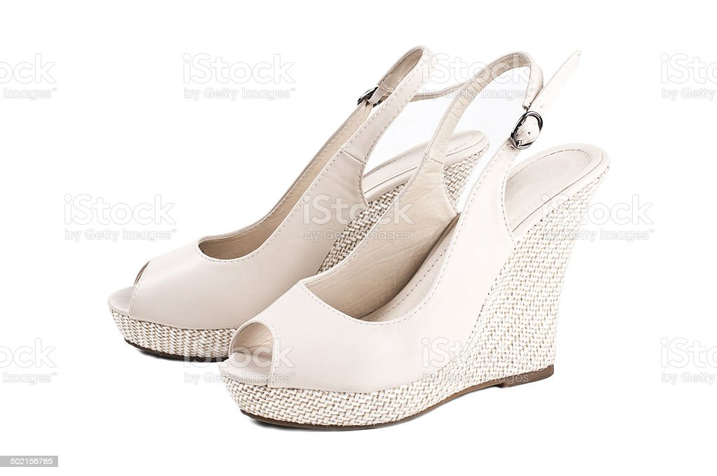 Beige woman's shoes stock photo