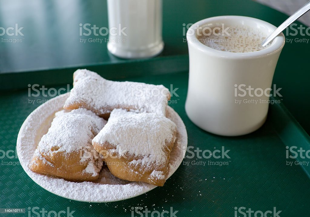 Beignets and Cafe' au Lait royalty-free stock photo