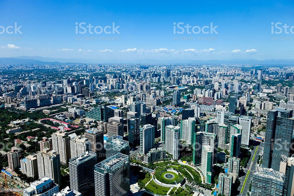 Beijing aerial View, Capital city of 20 million population stock photo