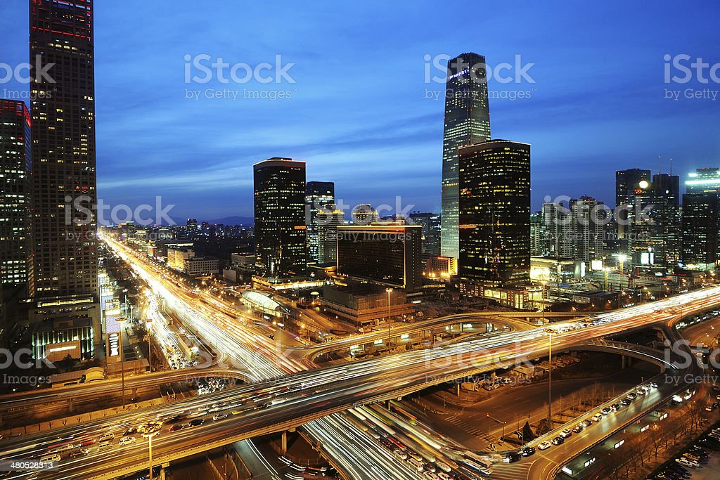 beijing after sunset-night scene of CBD stock photo