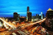 beijing after sunset-night scene of CBD