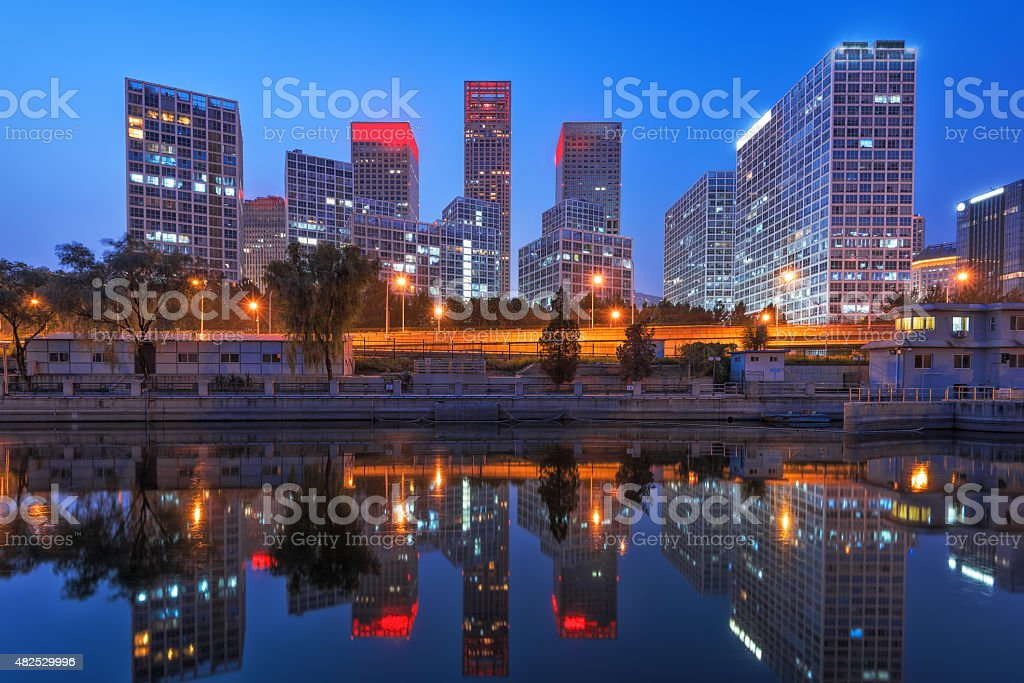 beijing after sunset-night scene of CBD stock photo