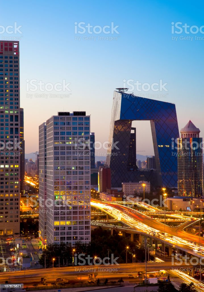 Beijing CBD by night stock photo