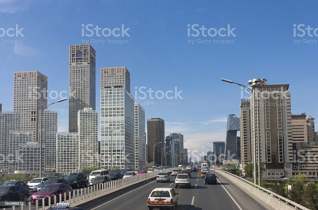 Beijing CBD skyline and traffic jam on ring road royalty-free stock photo