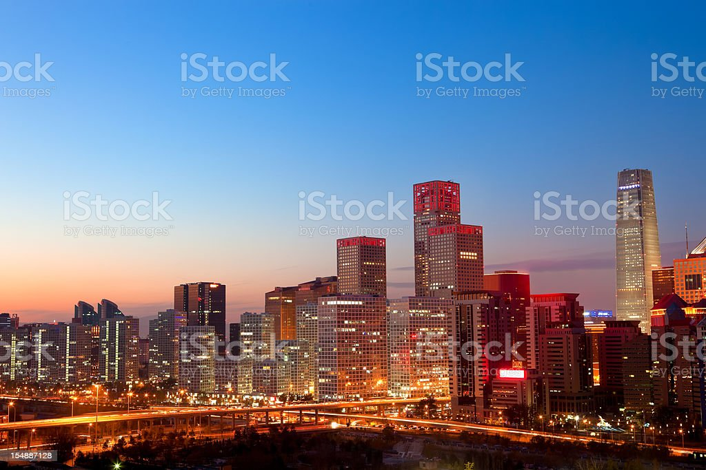 Beijing CBD skyline by night stock photo