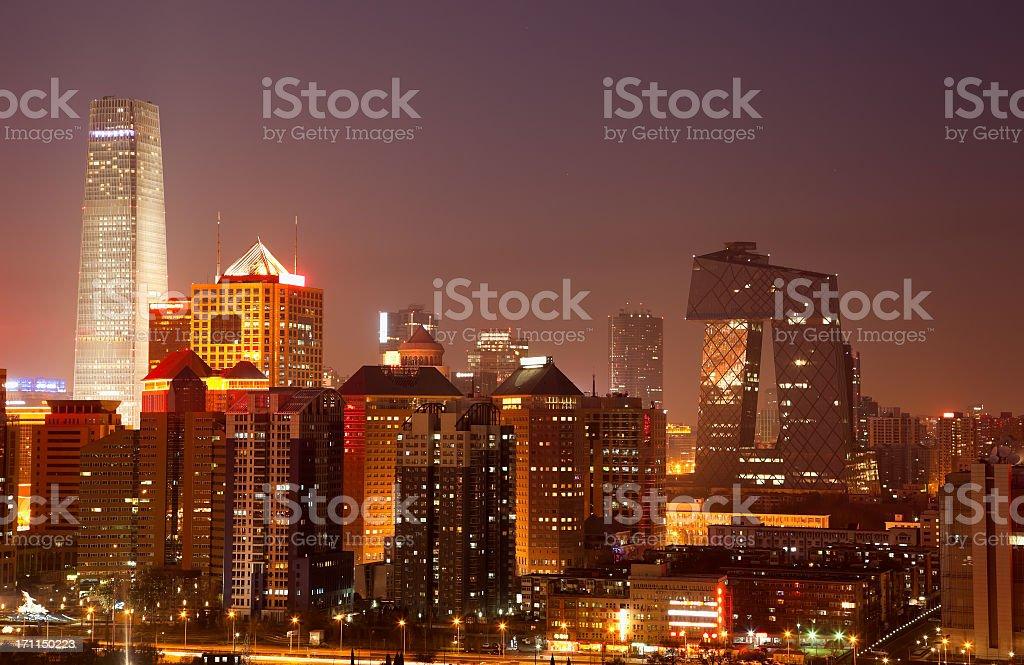 Beijing CBD skyline by night stock photo
