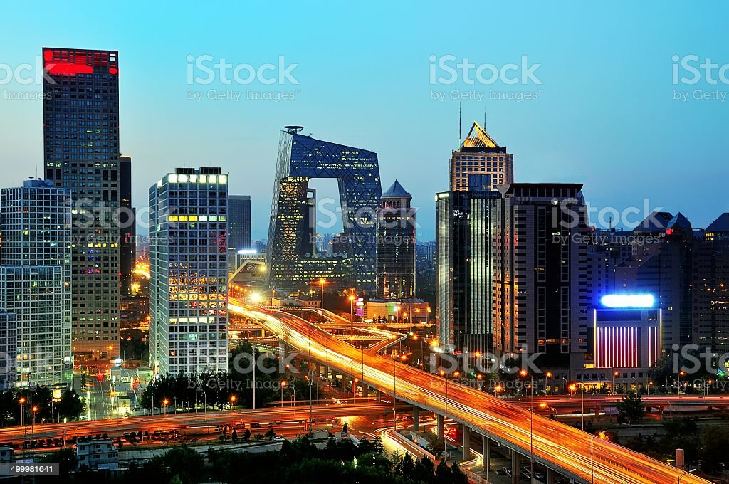 Beijing CBD skyline sunset, night stock photo