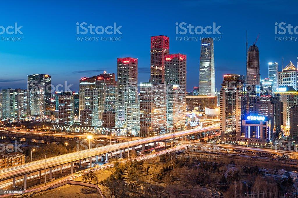 Beijing CBD skyline sunset, night stock photo