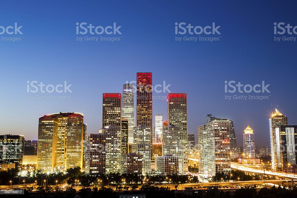 Beijing Central Business District Buildings Skyline, China night cityscape stock photo