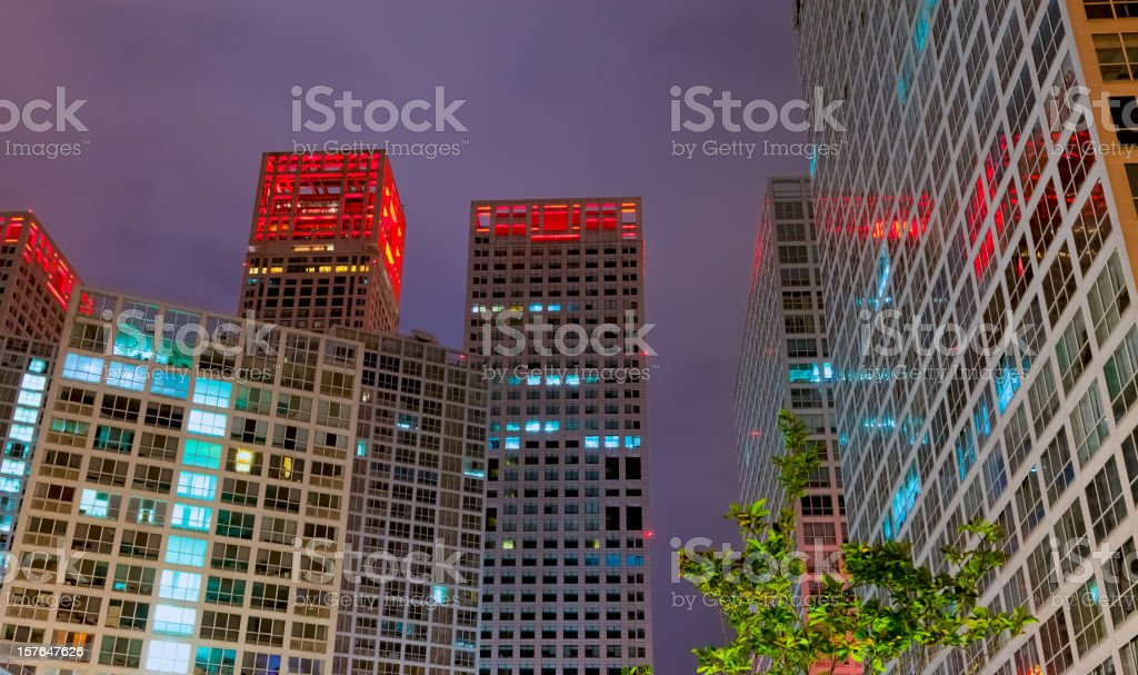 Beijing Central Business District by night - Cityscape stock photo
