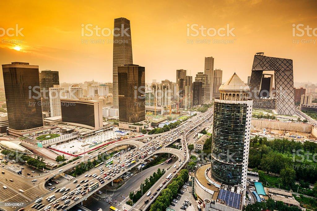 Beijing, China Financial District Skyline stock photo